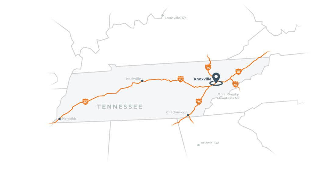 Map of Tennessee's major interstates